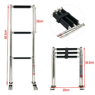 Amarine-made 3 Step Stainless Steel Telescoping Boat Ladder Swim Step Fast Ship