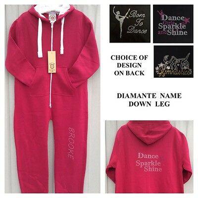 Personalised Dance Onesie.Diamante Jumpsuit Hoodie.Leotard.Gymnastic.Gerber.3-15