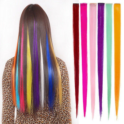 55cm Fashion Girl A bunch Pure Color Wig Long Full Straight Hair Heat Resistant