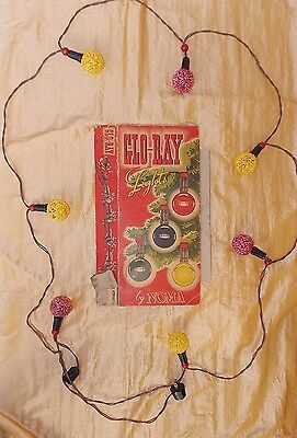 Vtg Noma Christmas Lights Glo-Ray Electric Indoor only Set Frosted Red Yellow