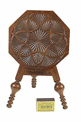 Vintage Frisian Miniature Chip Carved Tilt Top Table, Dutch.