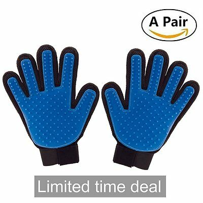 A Pair Pet Dog Cat Grooming Bath Magic Glove Hair Massage Cleaning Comb Brush