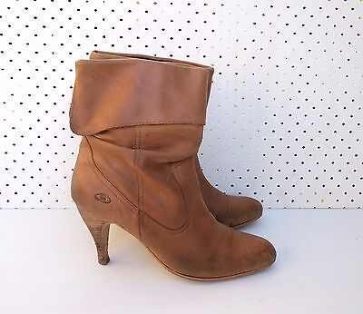 Size 39 Ladies Vintage Tan Western leather high boots