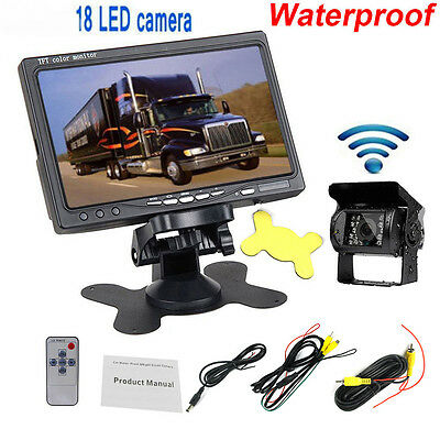 "Waterproof IR Rear View Back up Camera Night Vision System 7"" Monitor for Truck"
