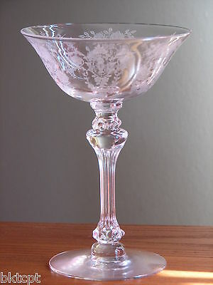 Tiffin Glass CHEROKEE ROSE Etch Crystal Clear Champagne Goblet (s)