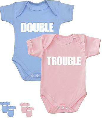 BabyPrem TWINS Baby Clothes Double Trouble Bodysuits One-Pieces Gifts for Twins