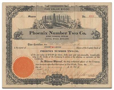 Phoenix Number Two Co. Stock Certificate (Fort Worth, Texas)