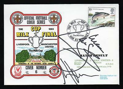 1983 Milk Cup Final Signed Cover Liverpool v Man Utd Alan Hansen Mark Lawrenson