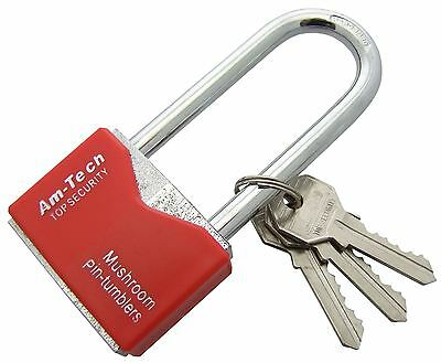 Am-Tech 50mm Long Shackle Rhombic Chrome Plated Iron Padlock - T0708