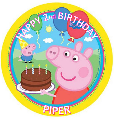 PEPPA PIG BIRTHDAY Personalised Edible Icing Cake Topper Decoration Images