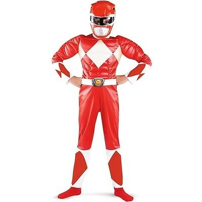 Child's Red Power Ranger Muscle Halloween Costume Medium Size 7-8 Kids Party