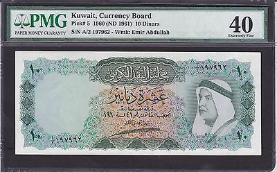 Kuwait 10 Dinars Of 1961 Issue P.5 In Pmg Holder  Xf 40