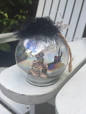 HEAVEN SENDS Glass Skeleton Bauble Halloween Quirky Christmas Decoration