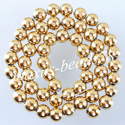 "Gold Hematite Gemstones 8mm Round Loose Beads 15.5"" for Jewelry making MG1014"