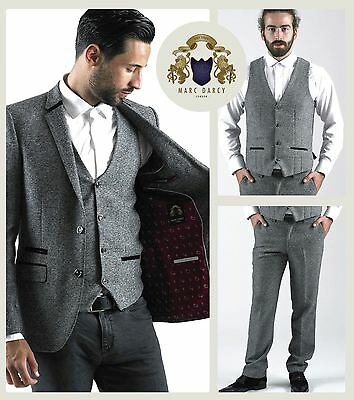 Mens Marc Darcy Designer Grey Herringbone Tweed Blazer Waistcoat Trousers