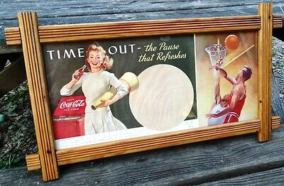 VTG Coca Cola Poster Time Out Pause That Refreshes Basketball and Cheerleader