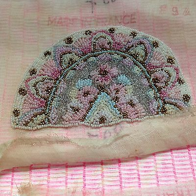 ANTIQUE FRENCH MICRO BEADED PIECE on Fine Cotton Gauze - 1930's- TWO pcs/set