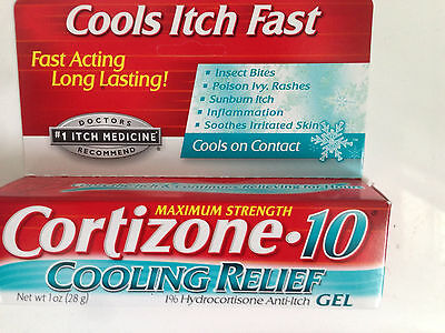 Cortizone 10 Cooling Relief Gel Anti-Itch Sunburn, Bites 1oz (28g) FAST FREEPOST