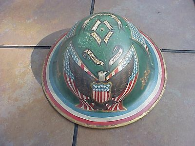 Original Wwi Us Painted British Brodie Helmet - Ny Unit - Eagle / Flags Etc