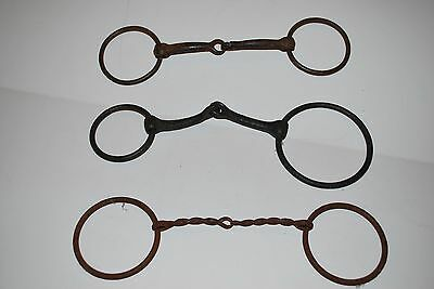 Lot of 3 Vintage Snaffle Bits Draft Horse, Mule Hand Forged