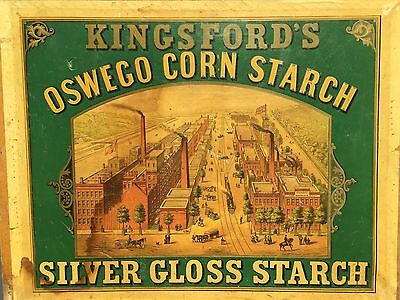 Original Antique Vintage Kingsford's Oswego Corn Starch Silver Gloss 1840 Poster