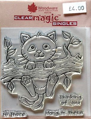 Woodware Clear Magic Left Hanging (Cat) stamp FRS195