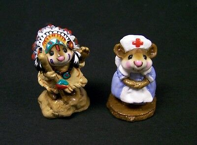 Wee Forest Folk Chief Geronimouse M107 A 1983&Mousey Nurse M95 1983 *Free S&H*