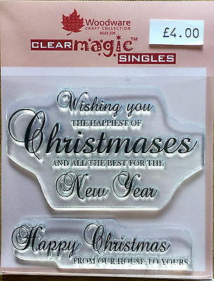 Woodware Clear Magic Happiest of Christmas stamp FRS123
