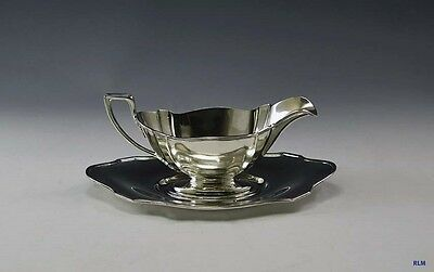 Antique Gorham Plymouth Sterling Silver Gravy Boat with Tray
