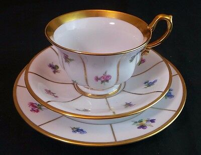 Kpm Gilded Coffee Tea Cup Saucer & Plate Floral Pattern