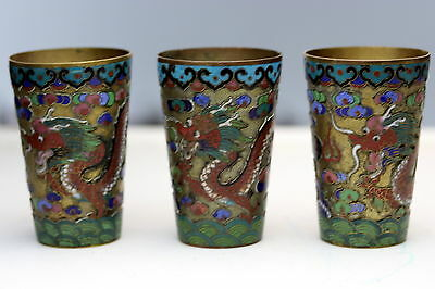 3 rare Antique Chinese Brass Cloisonne Dragon Cups wine /  birthday
