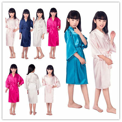 Kid Silk Satin Kimono Robes Bathrobe Sleepwear Wedding Flower Girl Night Dress!