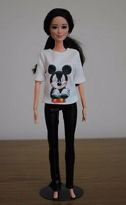"Clothes for Barbie Doll. T-shirt ""Mickey Mouse"", Black Leggings for Dolls."