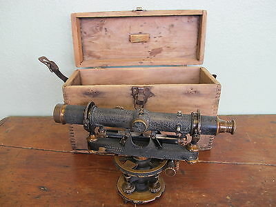 Vintage Antique David White Co # 8231 Transit Survey Surveyor Level + Wood Box