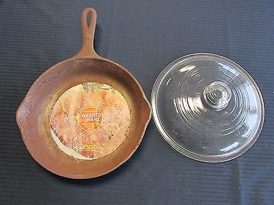 """Wagner Ware With Label 9"""" Fry Pan Cast Iron with Glass Cover Advertising"""