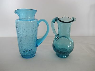 "Pair Of Hand Blown  5.5"" And 4.5"" Azure Blue Crackle Glass Pitchers  No Label"