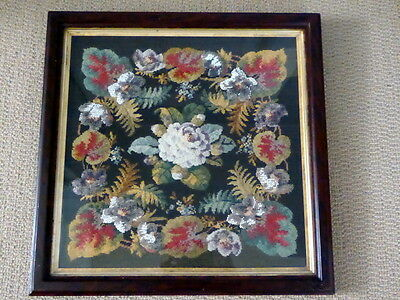 Antique Needlepoint & Beadwork Framed Tapestry Of Flowers & Leaves ~ Exquisite