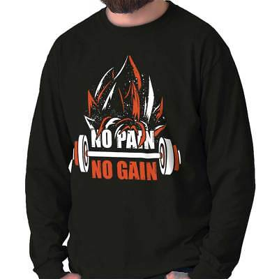No Pain No Gain Super Saiyan Dragon Ball Z Goku Workout Long Sleeve Tee