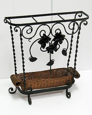 "Victorian Hand Forged Wrought Iron Umbrella Stand w/Wicker tray - 19"" X 20"" NICE"