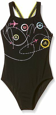 Arena, Costume da bagno intero Bambina Jumping, Nero (Black/Yellow-Star), 128 cm