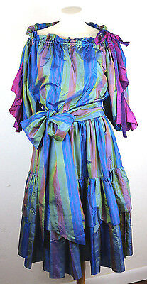 Vintage 1970's Saint Laurent Rive Gauche 3 pc Blouse Skirt and Sash Silk Striped