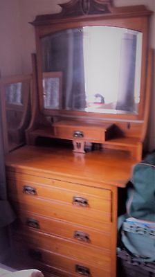 Antique Edwardian Dressing Table with 3 Drawers and Mirror. VGC for age.