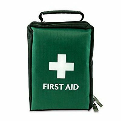 EMPTY FIRST AID KIT BAG WITH COMPARTMENTS - LARGE - GREEN - 19cm x 12cm x 8cm