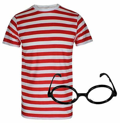 Boys Red and White Stripe Short Sleeve Shirt Kids Glasses Fancy Dress Book Week