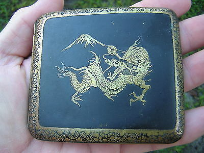 Rare SIGNED Antique Japanese DRAGON Gold Inlaid Damascene Metal Cigarette Case