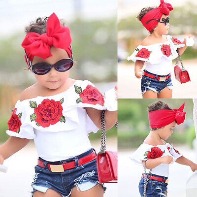 Toddler Baby Kids Girls Outfit Off Shoulder T-shirt Tops Short Sleeve Clothes GN