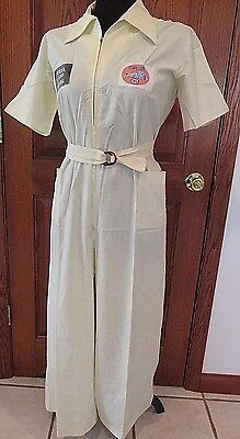 70s Women's Small Vintage Mechanic Jumpsuit w/ Rolls Royce, Top Lube Patches