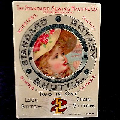 Standard Sewing Machine Co Trade Card 1880s Girl With Whistle Lock Chain Stitch