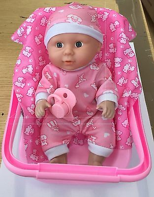 2 in 1 Car Seat & Rocking Cradle Dolls Comfort Carry Along Car Seat in Pink
