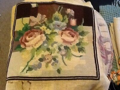vintage floral Needlepoint tapestry piece